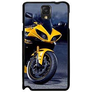 Fuson Blue Designer Phone Back Case Cover Samsung Galaxy Note 3 (The Yellow Race Bike)