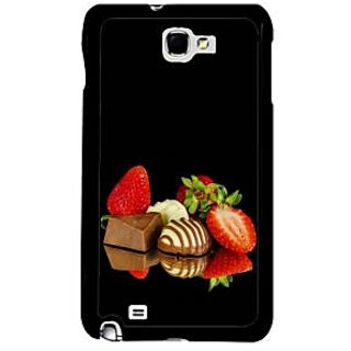 Fuson Black Designer Phone Back Case Cover Samsung Galaxy Note 2 (Chocolates And Strawberries)