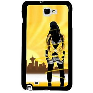 Fuson Yellow Designer Phone Back Case Cover Samsung Galaxy Note 2 (The City Girl Life)