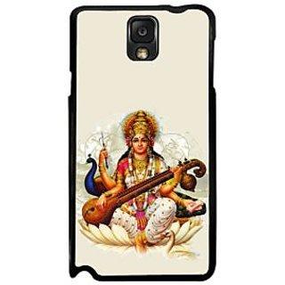Fuson White Designer Phone Back Case Cover Samsung Galaxy Note 3 (Goddess Saraswati And Her Peacock)