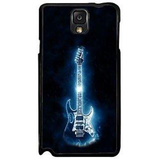 Fuson Blue Designer Phone Back Case Cover Samsung Galaxy Note 3 (Illuminating Electric Guitar)