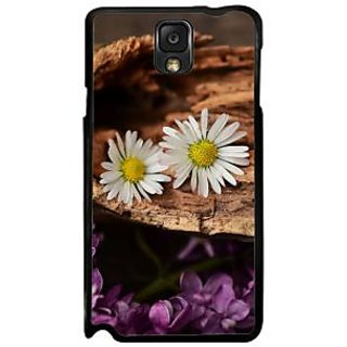 Fuson Brown Designer Phone Back Case Cover Samsung Galaxy Note 3 (Two Lone Flowers)