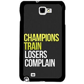 Fuson Black Designer Phone Back Case Cover Samsung Galaxy Note 2 (Difference Between Champions And Losers)