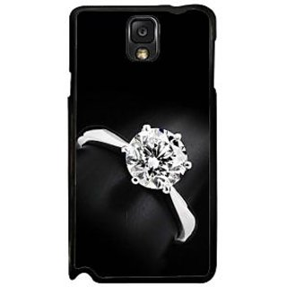 Fuson Black Designer Phone Back Case Cover Samsung Galaxy Note 3 (The Exclusive Shiny Diamond Ring)