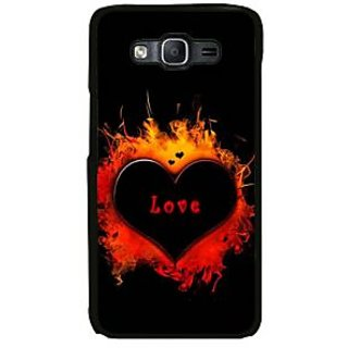 Fuson Black Designer Phone Back Case Cover Samsung Galaxy Note Edge (The Heart Burning With Love)