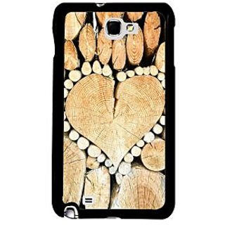 Fuson Brown Designer Phone Back Case Cover Samsung Galaxy Note 2 (Heart Shaped Stubs Of Trees)
