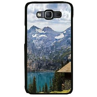 Fuson Multicolor Designer Phone Back Case Cover Samsung Galaxy Note Edge (Gorgeous Mountains With Sapphire Blue Lake)