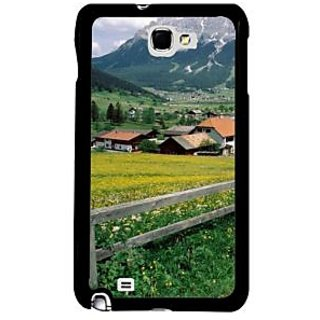 Fuson Multicolor Designer Phone Back Case Cover Samsung Galaxy Note 2 (Scenic View Of European Hills)