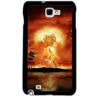 Fuson Red Designer Phone Back Case Cover Samsung Galaxy Note 2 (Fiery Burning Sky Over A Beach)