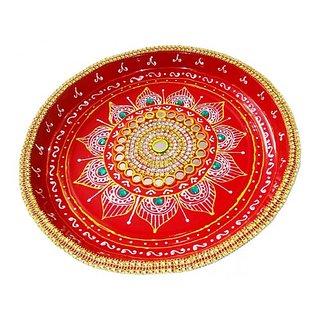 Handmade Pooja Thali With Full Kundan And Mirror Work