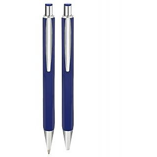P-4 B Blue Colours Click Ball Pen With Silver Finish
