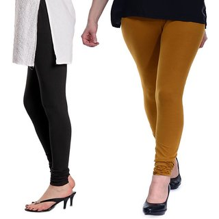 Stylobby Black and Mustard Viscose pack of 2 Leggings