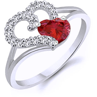 Vidhi Jewels Silver Plated Silver Valentine Heart Shaped Brass Finger Ring for Women VFR214R
