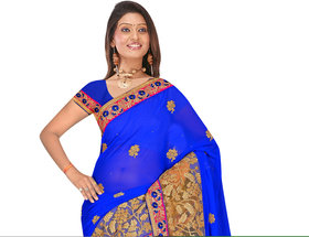 sehgal sons Blue Georgette Striped Saree With Blouse