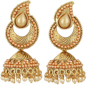 Styylo Fashion Exclusive White Golden Earring Set.