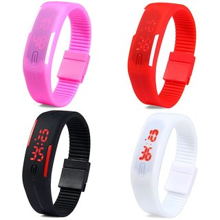 Digital LED 4 Watches Combo For Boys,Girls And Kids