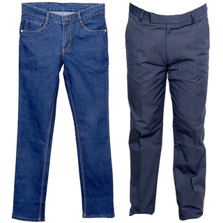 IndiWeaves Men's 1 Formal Trouser and 1 Tullis Denim Jeans Combo Offer (Pack 1 Jeans and 1 Trouser)_Gray::Blue_Size:30