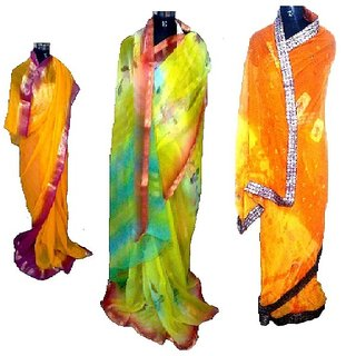 RC-0020 WOMEN 6 Mtr. MULTI-COLOURED LACE WORK BORDER SYNTHETIC SAREES COMBOS