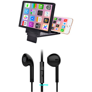 3D Folding Mobile Phone Screen HD Magnifier Stand with Hybrid Noise Cancellation Earphones with Mic