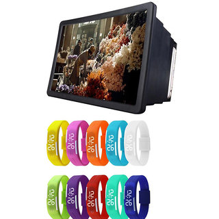 F2 3D HD Mobile Phone Screen Folding Magnifier Stand with Waterproof LED Digital Watch