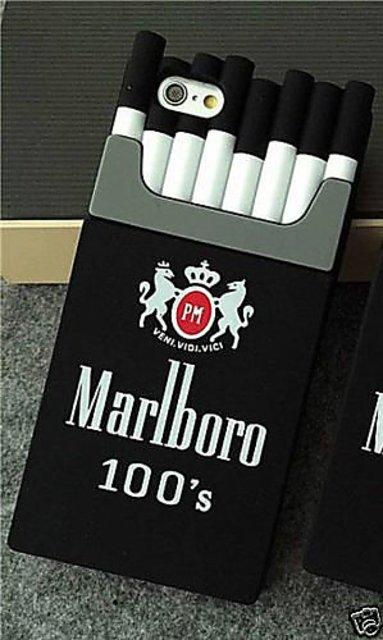 ACCWORLD 3D Silicone Cigarette Box Shaped Marlboro Back Cover Case for  Iphone 7 (Black)