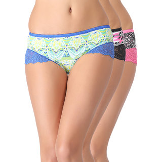 Clovia Set Of 3 Cotton Printed Mid Waist Hipsters With Lace Leg Openings