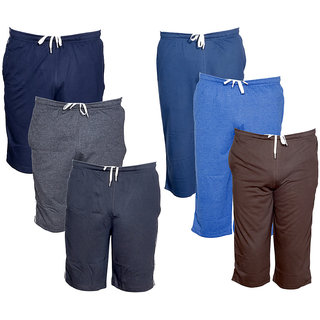 IndiWeaves Multicolor Plain  Cotton Blend Shorts for Men