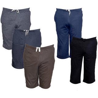 IndiWeaves Multicolor Plain  Cotton Blend Shorts for Men