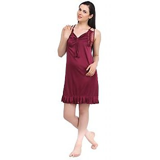 bbb1ce31d5 Fasense Women Nightwear Satin 2 pc set Short Nighty and robe Sleepwear  DP045 C