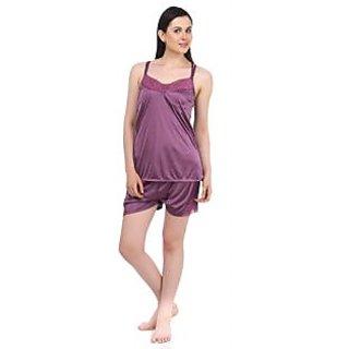 Fasense Exclsuive Summer Sleepwear Purple Satin Barmuda nightwear Top & Shorts (DP041 A)