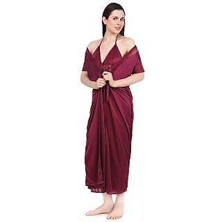 e5c0836a03 Fasense Women Nightwear Sleepwear Satin 2 Pcs Set Night Gown and Robe Nighty  (DP043 C