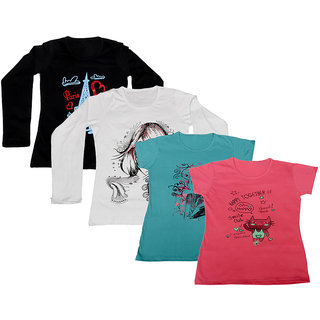 IndiWeaves Pack of 4 Multicolor PrintedRound Neck Tshirts