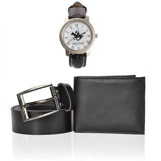 COMBO Special Black Wallet , Belt  Polo Club Watch (Synthetic leather/Rexine)