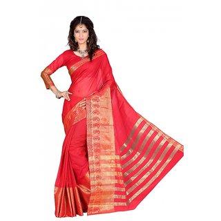 kanak new designer red color cotton saree