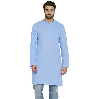 irin Ethnic Poly Cotton Blue Self Design Straight Kurta For Men