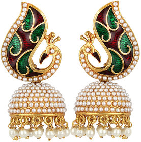 Jewels Guru Exclusive Golden White Green Maroon Multi Colour Earrings.  m-20
