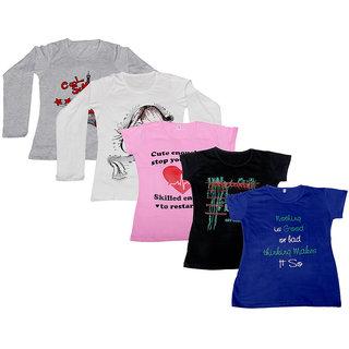 IndiWeaves Pack of 5 Multicolor PrintedRound Neck Tshirts