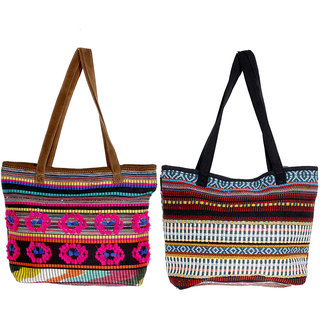 IndiWeaves Multicolor Printed Casual Totes