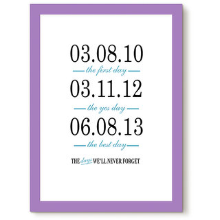 Humptee Dumptee Designer Premium Quality Customized Wooden Frame (13x9 Inch), The Days Will Never Forget, Best Gift for Anniversary, Birthday, Wedding, Marriage, Complete Personalised Gift for Him, Her,  Couples, Color - Smokey Purple