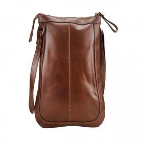 Deeya Brown Genuine Leather Gents Sling Bag