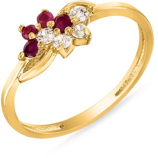 Mahi Gold Plated Red Ruby CZ 24K Gold Plated Finger Ring for Women FR1100314G