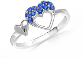 Mahi with Swarovaski Crystals Blue Double Heart Rhodium Plated Valentine Love Ring for women FR1104001RBlu