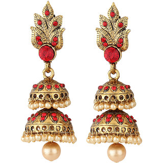 Styylo Fashion Exclusive Golden Red White Earrings Set /S36
