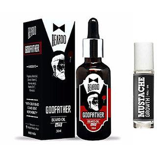 BEARDO GODFATHER Lite Beard  Mustache Oil - 30ml  BEARDO Mustache Growth Roll on Combo.