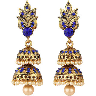 Jewels Guru Exclusive Golden White Blue Multi Colour  Earrings.  m-37