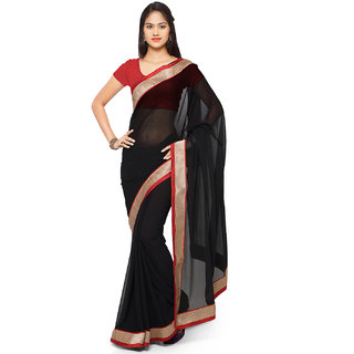 Aaina Black Chiffon Embroidered Saree With Blouse