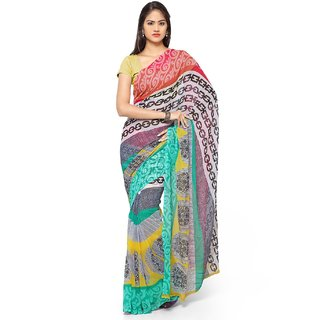 Meia Green and Black Georgette Printed Saree With Blouse