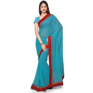 Aaina Sky Blue Chiffon Embroidered Saree With Blouse