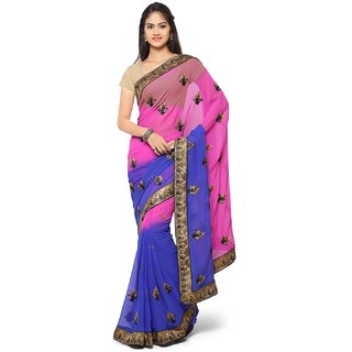 Aaina Blue & Pink Chiffon Embroidered Saree With Blouse