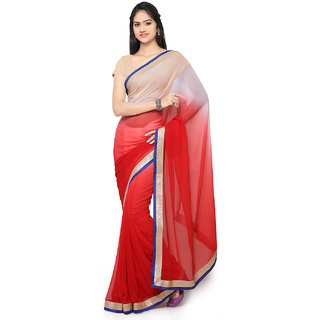 Meia Red Chiffon Embroidered Saree With Blouse